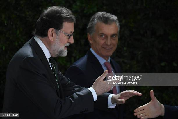 Spanish Prime Minister Mariano Rajoy and Argentinian President Mauricio Macri arrive for the official lunch at the Bicentennial museum at the Casa...