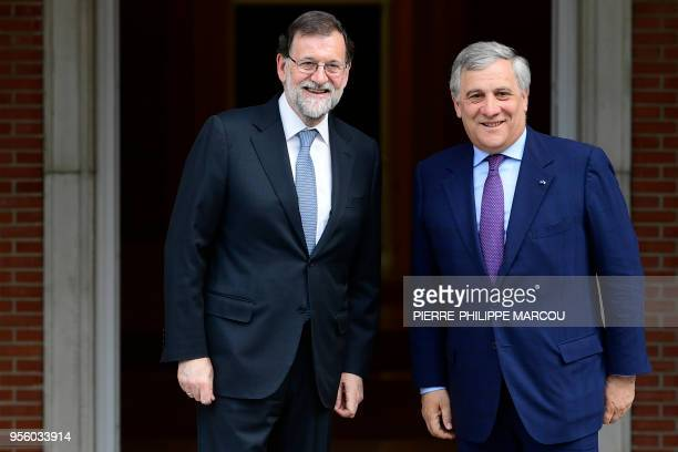 Spanish prime minister Mariano Rajoy and president of the European Parliament Italian politician Antonio Tajani pose before holding a meeting at La...
