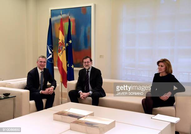 Spanish Prime Minister Mariano Rajoy and Spanish Minister of Defence Maria Doroles de Cospedal hold a meeting with NATO Secretary General Jens...