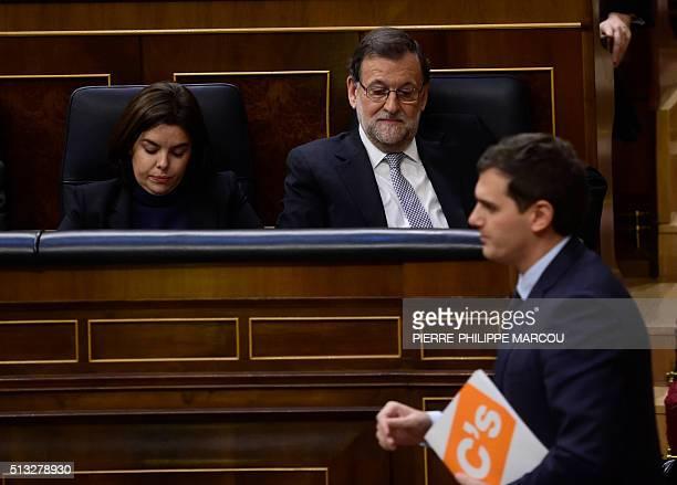 Spanish Prime Minister Mariano Rajoy and Vice President of the Government Soraya Saenz de Santamaria sit as leader of centerright party Ciudadanos...