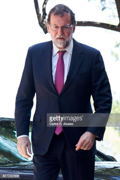 Spanish Prime Minister Mariano Rajoy arrives at the Marivent Palace for a meeting with King Felipe VI of Spain on August 7 2017 in Palma de Mallorca...