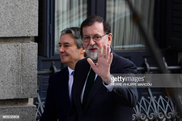 TOPSHOT Spanish Prime Minister Mariano Rajoy arrives for a debate on a noconfidence motion at the Lower House of the Spanish Parliament in Madrid on...