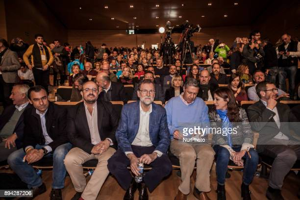 Spanish Prime Minister Mariano Rajoy attends a campaign meeting in Salou on December 17 2017 Catalonia heads into the final stretch before crux...