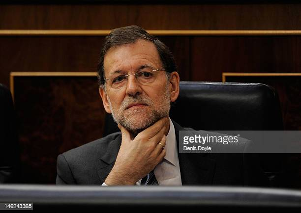 Spanish Prime Minister Mariano Rajoy attends a parliamentary QA session on June 13 2012 in Madrid Spain Spain has requested financial support from...