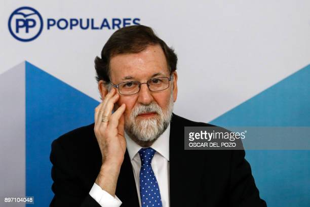 Spanish Prime Minister Mariano Rajoy attends a Popular Party meeting of the national executive committee held one day after the Catalan regional...