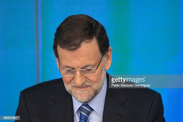 Spanish Prime Minister Mariano Rajoy attends a Popular Party national executive comitee on February 2, 2013 in Madrid, Spain. Spanish reports alleged...