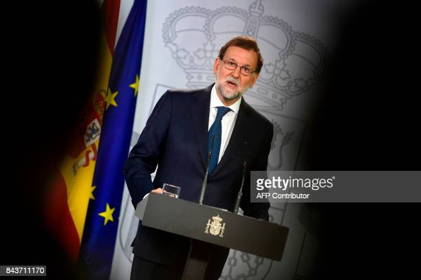 Spanish Prime Minister Mariano Rajoy attends a press conference at La Moncloa palace in Madrid on September 7 2017 The Spanish government is to hold...