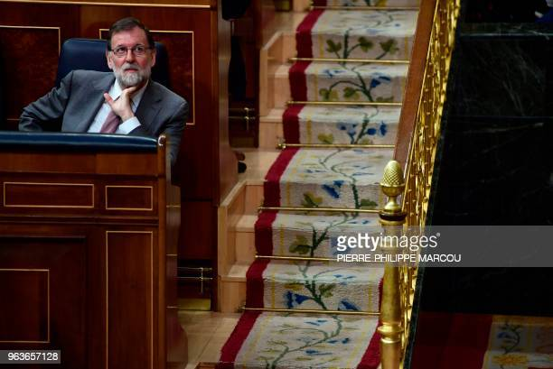 Spanish Prime Minister Mariano Rajoy attends a session at the Lower House of Parliament in Madrid on May 30 two days before the assembly will debate...