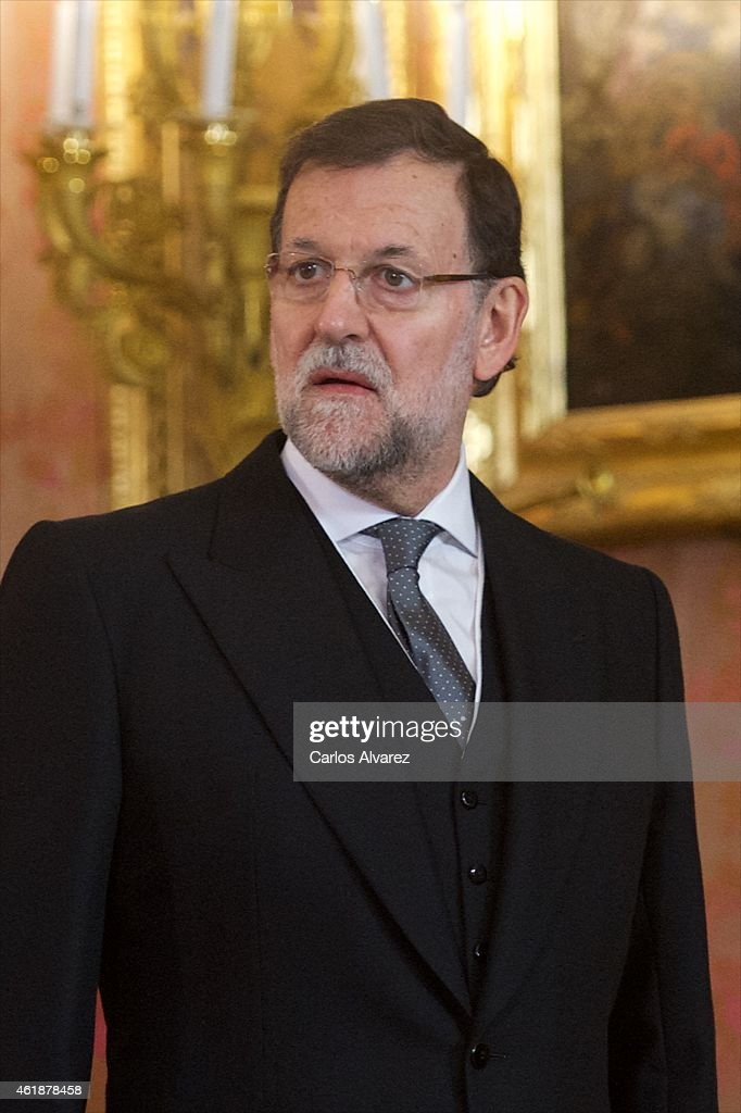 Spanish prime minister Mariano Rajoy attends the annual Foreign Ambassadors reception at the Royal Palace on January 21, 2015 in Madrid, Spain.
