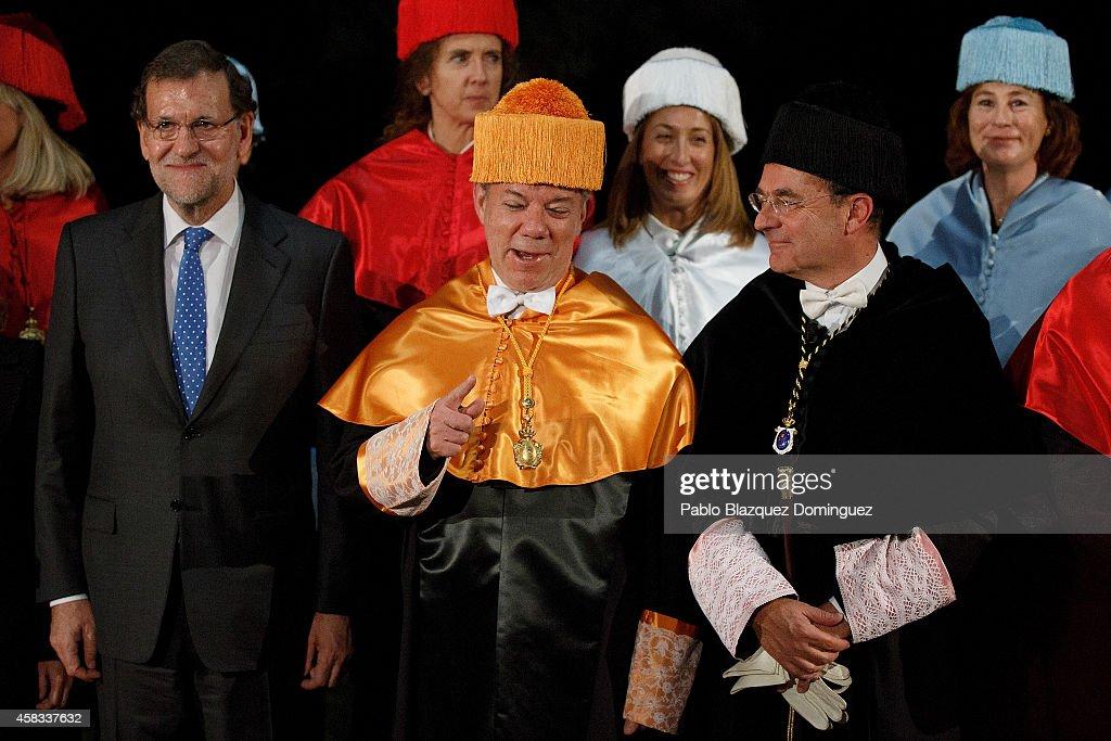 Colombian President Juan Manuel Santos Awarded At University Camilo Jose Cela