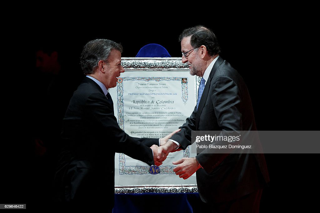 Colombian President Juan Manuel Santos Receives Nueva Economia Forum Award in Madrid
