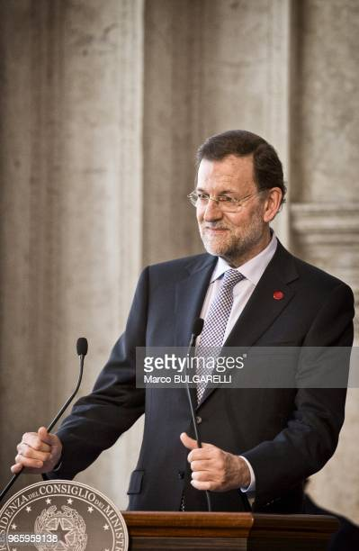 Spanish Prime Minister Mariano Rajoy during the press conference after the quadrilateral meeting at Villa Madama on June 22 2012 in Rome in Italy
