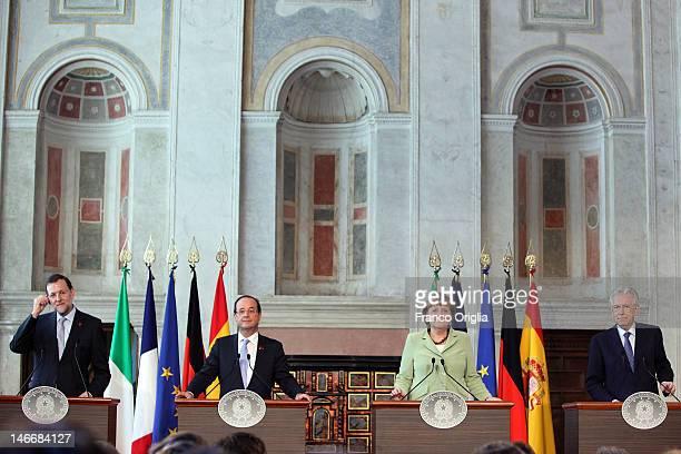 Spanish Prime Minister Mariano Rajoy; French President Francois Hollande, German Chancellor Angela Merkel and Italian Prime Minister Mario Monti,...