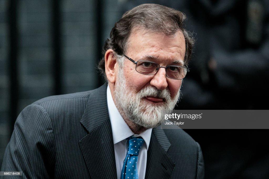 Spanish Prime Minister Mariano Rajoy Meets Theresa May : News Photo