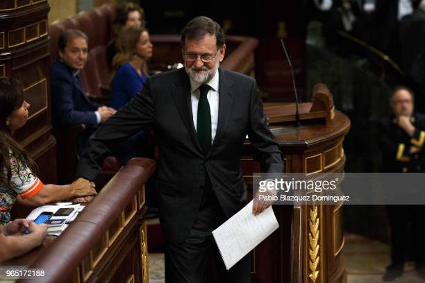 Spanish Prime Minister Mariano Rajoy leaves the lectern before the voting for the noconfidence motion at the Lower House of the Spanish Parliament on...