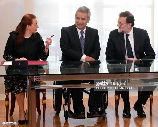 Spanish prime minister Mariano Rajoy listens to Ecuadorian Minister of Foreign Affairs Maria Fernanda Espinosa beside Ecuadorian president Lenin...