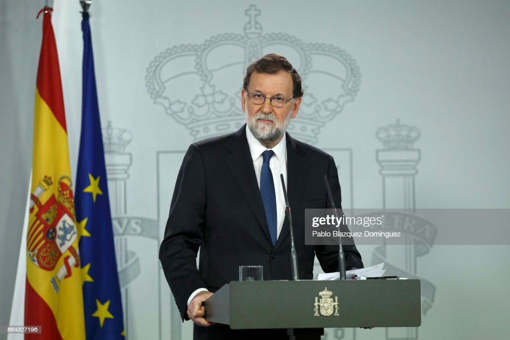 Spanish Prime Minister Mariano Rajoy looks out as he speaks during a press conference after an extraordinary cabinet meeting at Moncloa Palace on October 21, 2017 in Madrid, Spain. The cabinet meeting will decide which interventions to take in Catalonia. Rajoy gave a deadline to the Catalan leader Carles Puigdemont to drop his secession plans that ended last Thursday.