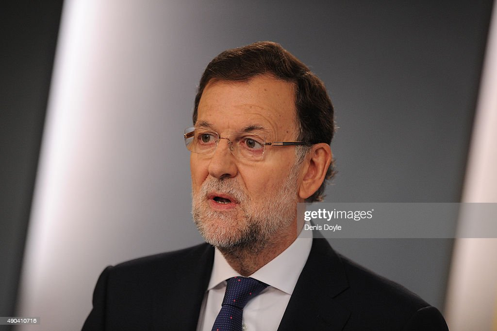 Spanish Prime Minister Mariano Rajoy Reacts to Catalan Regional Election Results : News Photo