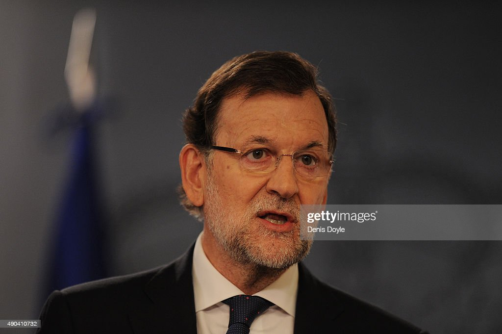 Spanish Prime Minister Mariano Rajoy makes a brief statement to the press at the Moncloa palace on September 28, 2015 in Madrid Spain. Yesterday a coalition of pro-independence parties won a majority 72 seats in the 135-seat regional parliament in Catalonia with Rajoy pledging to challenge any unilateral moves towards independence in court.