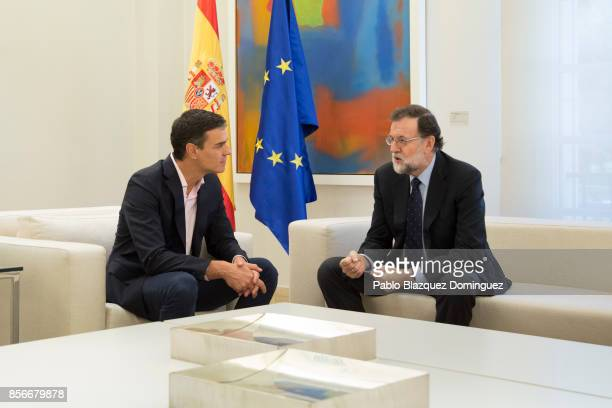 Spanish Prime Minister Mariano Rajoy meets the leader of Spanish Socialist Party Pedro Sanchez at the Moncloa Palace on October 2 2017 in Madrid...