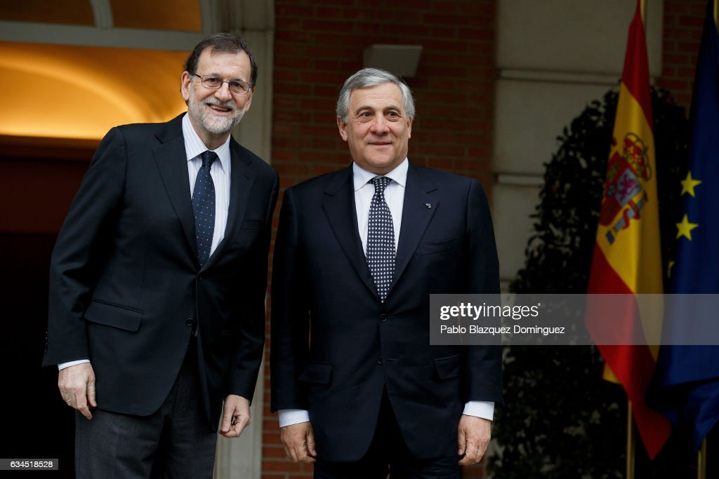 President Of The European Parliament, Antonio Tajani Meets Mariano Rajoy At Moncloa Palace