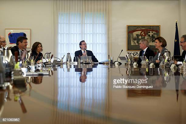 Spanish Prime Minister Mariano Rajoy presides the first cabinet meeting with his new Government at Moncloa Palace on November 4 2016 in Madrid Spain...