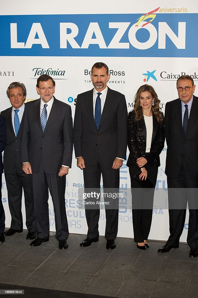 Spanish Prime Minister Mariano Rajoy (2L) Prince Felipe of Spain (C) and Princess Letizia of Spain (2R) attend 'La Razon' Newspaper 15th Anniversary on November 4, 2013 in Madrid, Spain.