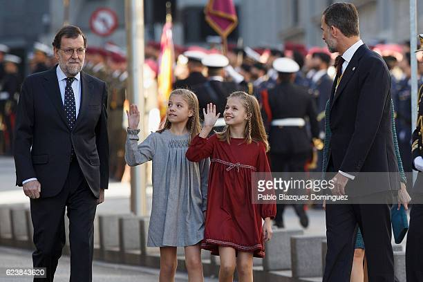 Spanish Prime Minister Mariano Rajoy Princess Sofia of Spain Princess Leonor of Spain and King Felipe VI of Spain arrive to the solemn opening of the...