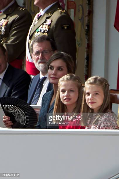 Spanish Prime Minister Mariano Rajoy Queen Letizia of Spain Princess Leonor of Spain and Princess Sofia of Spain attend the National Day Military...