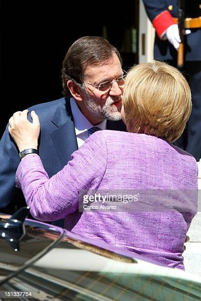 Spanish Prime Minister Mariano Rajoy receives German Chancellor Angela Merkel at Moncloa Palace on September 6 2012 in Madrid Spain Merkel will meet...