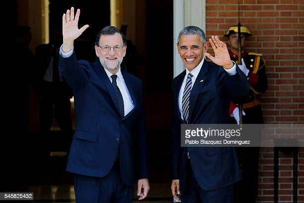 Spanish Prime Minister Mariano Rajoy receives US President Barack Obama at Moncloa Palace on July 10 2016 in Madrid Spain President Obama arrived...