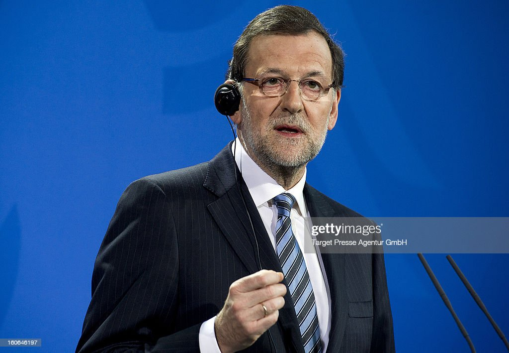 Spanish Prime Minister Mariano Rajoy speaks at a press conference at the German Chancellery on February 4, 2013 in Berlin, Germany. Topics of the meeting where talks on the euro debt crisis and the European Union's new budget. Prime Minister Mariano Rajoy has strenuously denied allegations of corruption as El Pais newspaper published photos allegedly detailing secret payments.