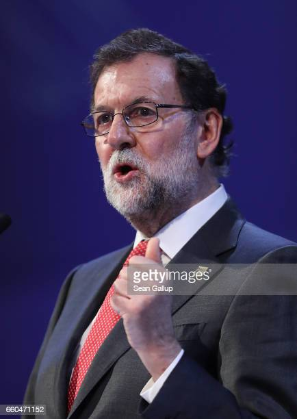 Spanish Prime Minister Mariano Rajoy speaks at the European People's Party Congress on March 30 2017 in San Giljan Malta The EPP which includes many...