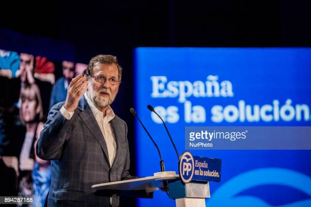 Spanish Prime Minister Mariano Rajoy speaks during a Catalan Popular party campaign meeting for the upcoming regional election in Salou on December...