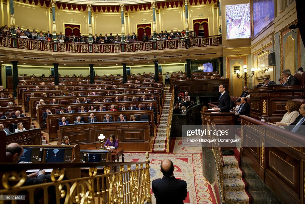 Spanish Prime Minister Mariano Rajoy speaks during a debate about a new law that would allow the abdication of King Juan Carlos of Spain at Parliament on June 11, 2014 in Madrid, Spain. Since King Juan Carlos of Spain announced his decision to abdicate on June 2, multiple demonstrations have taken place within the country and even abroad calling for a referendum to decide whether the country should be a Monarchy or Republic. Today Spain's Parliament will debate and vote on a new law that would allow the abdication of King Juan Carlos of Spain and the coronation of his 46-year-old son Prince Felipe of Spain.