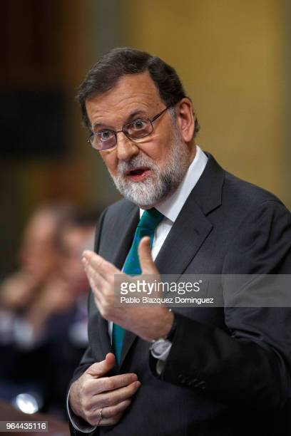 Spanish Prime Minister Mariano Rajoy speaks during a debate on a noconfidence motion at the Lower House of the Spanish Parliament on May 31 2018 in...