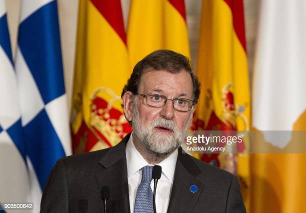 Spanish Prime Minister Mariano Rajoy speaks during a joint press conference during a joint press conference at the end of the 4th Summit of Southern...