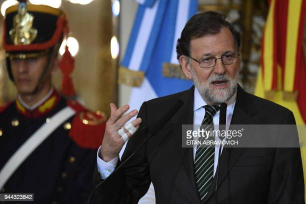 Spanish Prime Minister Mariano Rajoy speaks during a joint press conference with Argentinian President Mauricio Macri at the Casa Rosada presidential...