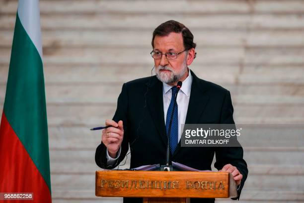 Spanish Prime Minister Mariano Rajoy speaks during a joint press conference with his Bulgarian counterpart after a meeting in Sofia on May 15 2018