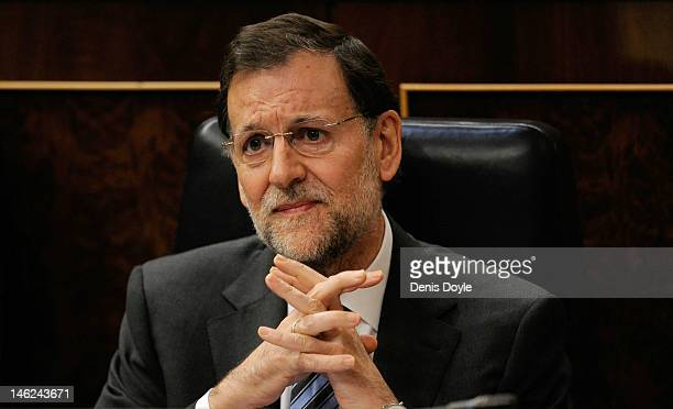 Spanish Prime Minister Mariano Rajoy speaks during a parliamentary QA session on June 13 2012 in Madrid Spain Spain has requested financial support...