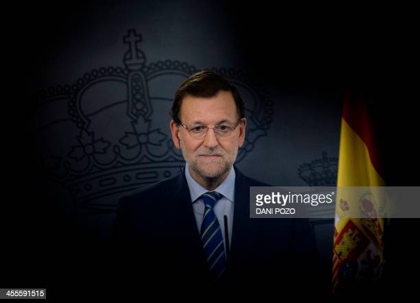 Spanish Prime Minister Mariano Rajoy speaks during a press conference after a meeting with European Council President Herman Van Rompuy at the...