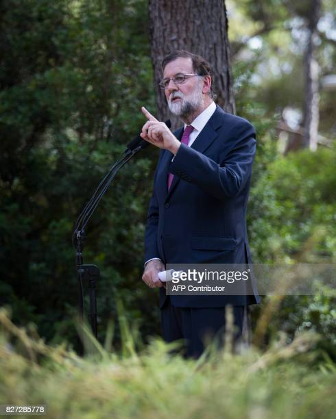 Spanish Prime Minister Mariano Rajoy speaks during a press conference following a meeting with Spanish king at the royal family's summerholidays...