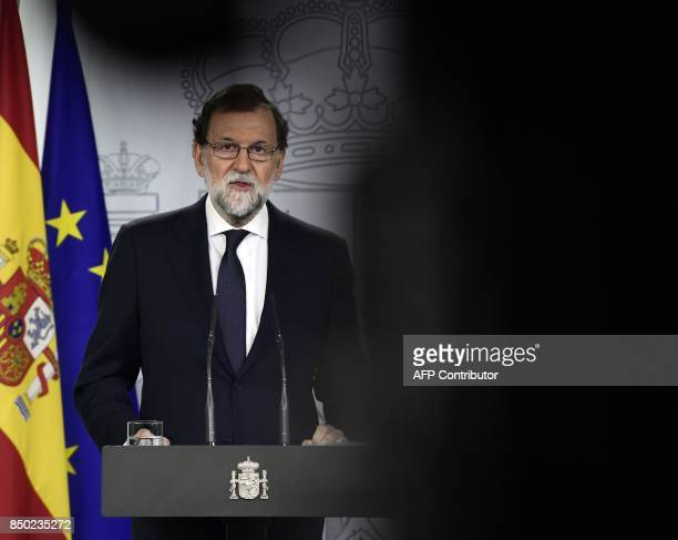 Spanish Prime Minister Mariano Rajoy speaks during a press conference at La Moncloa palace in Madrid, on September 20, 2017. Spain's Prime Minister...