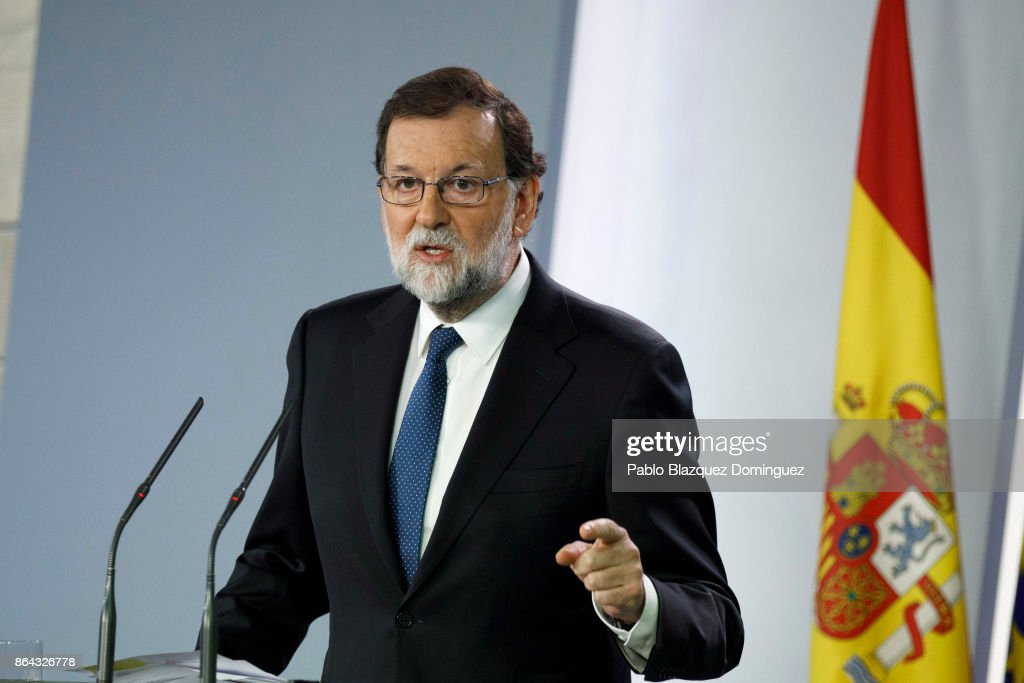 Spanish Prime Minister Mariano Rajoy speaks during a press conference after an extraordinary cabinet meeting at Moncloa Palace on October 21, 2017 in Madrid, Spain. The cabinet meeting will decide which interventions to take in Catalonia. Rajoy gave a deadline to the Catalan leader Carles Puigdemont to drop his secession plans that ended last Thursday.