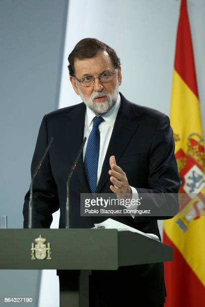 Spanish Prime Minister Mariano Rajoy speaks during a press conference after an extraordinary cabinet meeting at Moncloa Palace on October 21, 2017 in...
