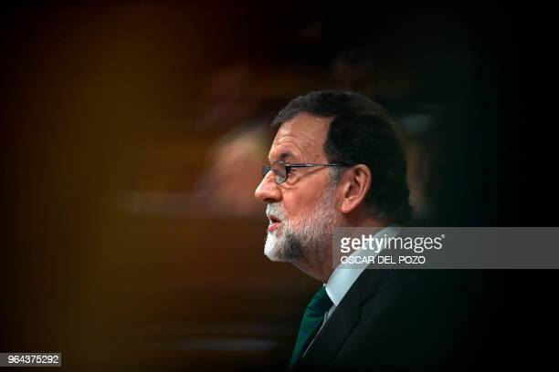 Spanish Prime Minister Mariano Rajoy speaks during the debate of a noconfidence motion tabled by Spanish Socialist Party at the Lower House of the...