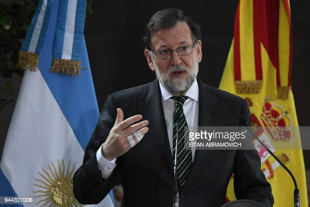 Spanish Prime Minister Mariano Rajoy speaks during the official lunch at the Bicentennial museum at the Casa Rosada presidential palace in Buenos...