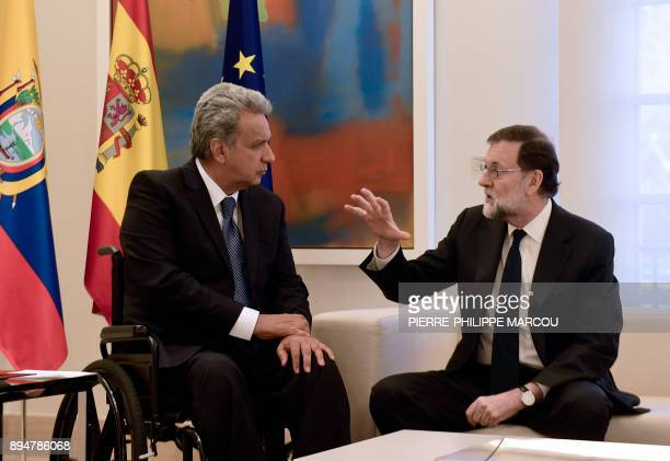 Spanish prime minister Mariano Rajoy speaks with Ecuadorian president Lenin Moreno during their meeting at 'La Moncloa' palace in Madrid on December...