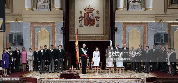 Spanish Prime Minister Mariano Rajoy watchs as President of the Congress of Deputies Jesus Maria Posada Moreno Spain's King Felipe VI Spain's Queen...