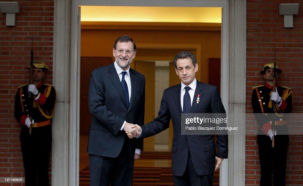 Mariano Rajoy Meets Nicolas Sarkozy at Moncloa Palace